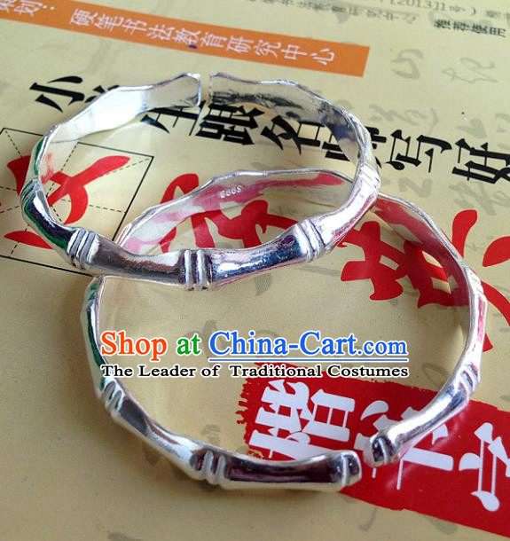 Handmade Chinese Miao Nationality Sliver Bamboo Bracelet Traditional Hmong Bangle for Women