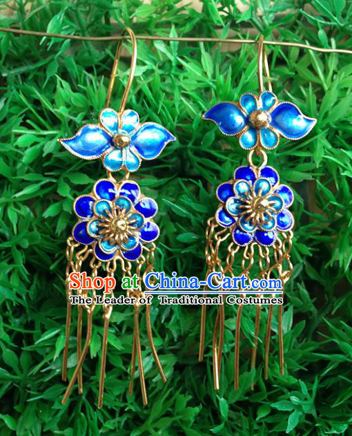 Handmade Chinese Miao Nationality Blueing Lotus Tassel Earrings Hmong Sliver Eardrop for Women