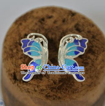 Chinese Traditional Jewelry Accessories Ancient Palace Hanfu Cloisonne Butterfly Earrings for Women