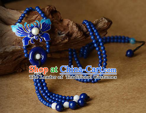 Chinese Traditional Jewelry Accessories Ancient Palace Hanfu Blueing Butterfly Necklace for Women