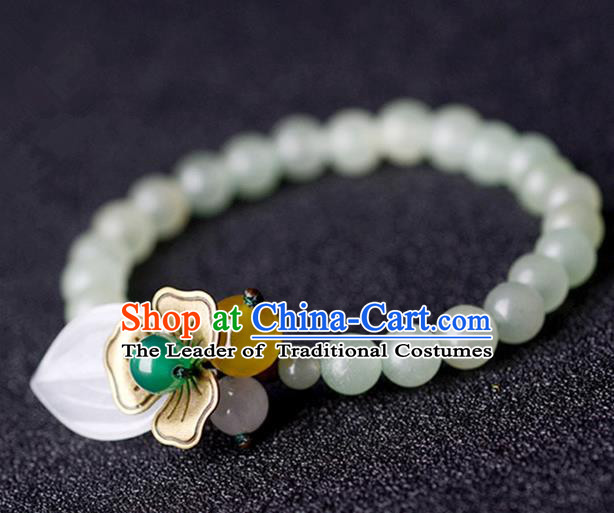 Chinese Traditional Jewelry Accessories Ancient Palace Hanfu Jade Flower Bracelet for Women