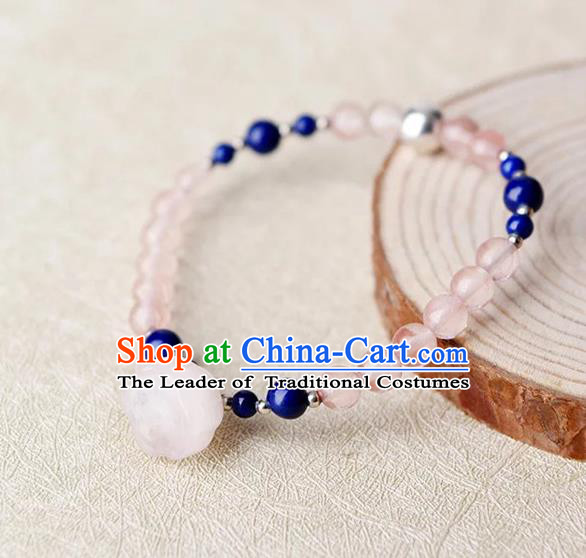 Chinese Traditional Jewelry Accessories Ancient Palace Hanfu Pink Bracelet for Women