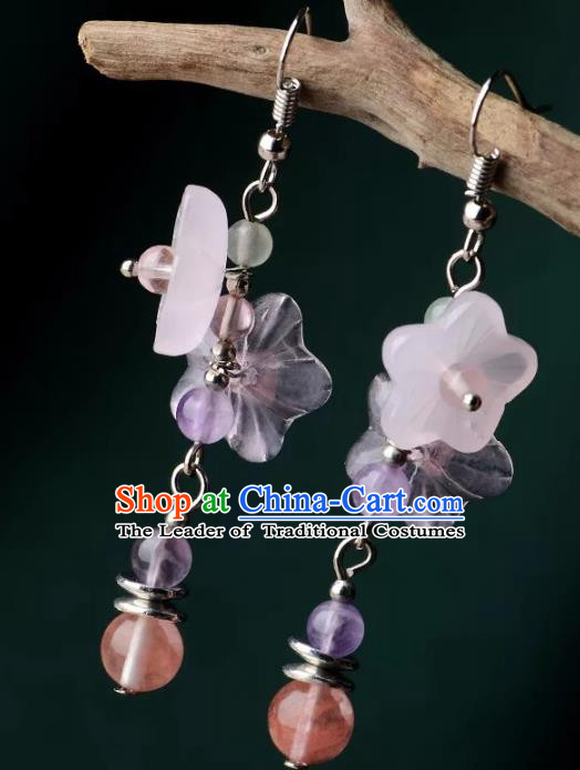 Chinese Traditional Jewelry Accessories Ancient Palace Hanfu Pink Flowers Earrings for Women