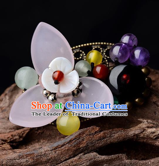 Chinese Traditional Jewelry Accessories Ancient Palace Hanfu Flower Brooch for Women