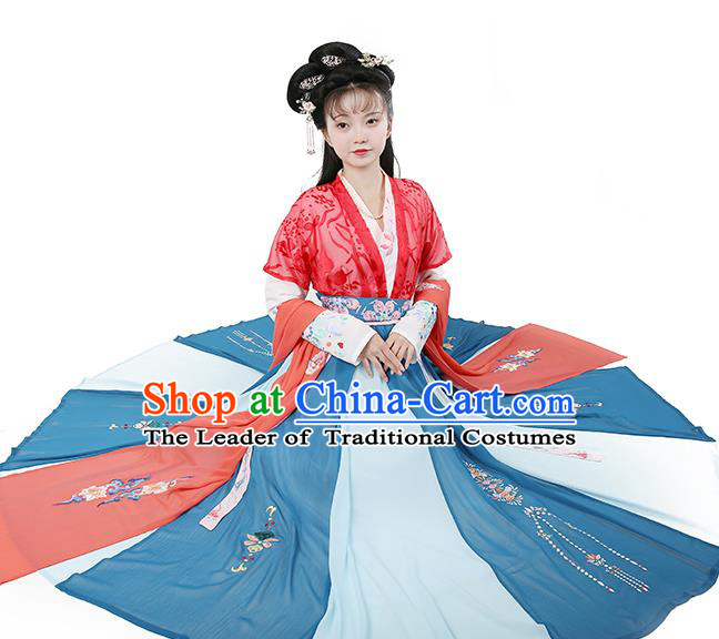 Chinese Tang Dynasty Nobility Lady Red Hanfu Dress Ancient Peri Embroidered Costume for Women