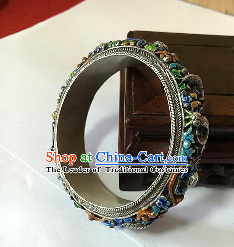 Handmade Chinese Miao Nationality Sliver Bracelet Traditional Hmong Blueing Lotus Bangle for Women