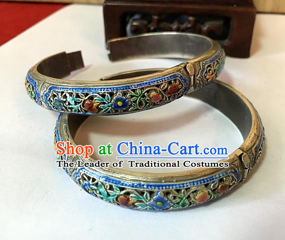 Handmade Chinese Miao Nationality Sliver Retro Bracelet Traditional Hmong Blueing Bangle for Women