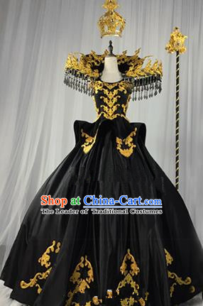 Top Grade Models Show Costume Cosplay Queen Black Full Dress Stage Performance Compere Clothing for Women