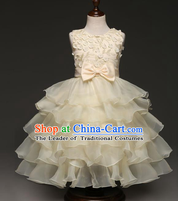 Children Models Show Costume Stage Performance Modern Dance Compere Champagne Dress for Kids