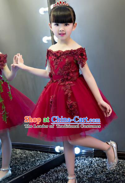Children Models Show Costume Stage Performance Catwalks Wine Red Veil Dress for Kids
