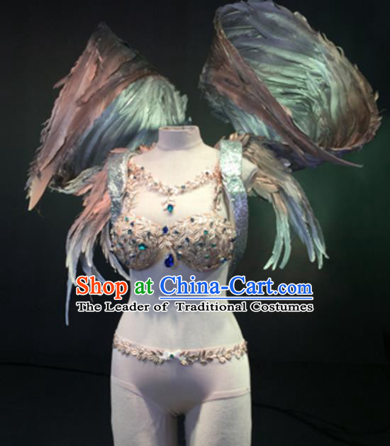 Top Grade Models Show Costume Stage Performance Bikini Dress and Wing for Women