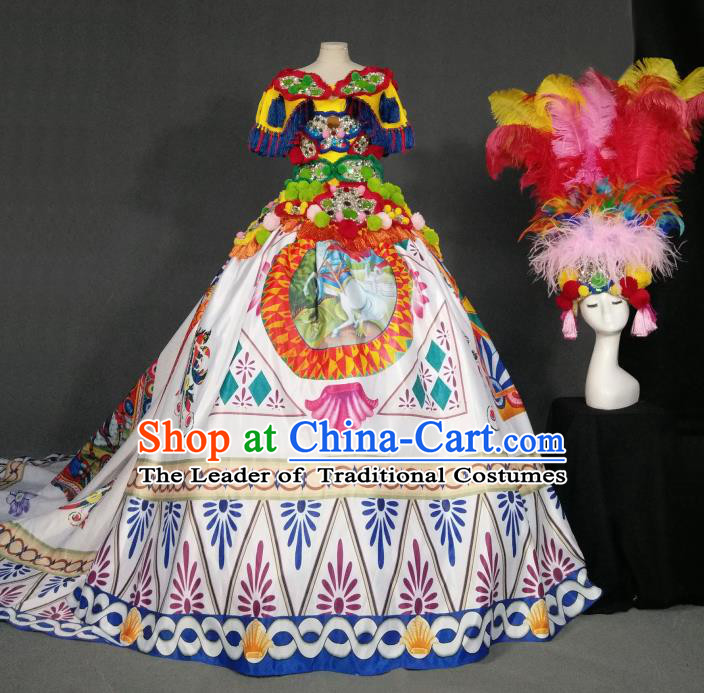 Top Grade Models Show Costume Stage Performance European Court Printing White Full Dress for Women