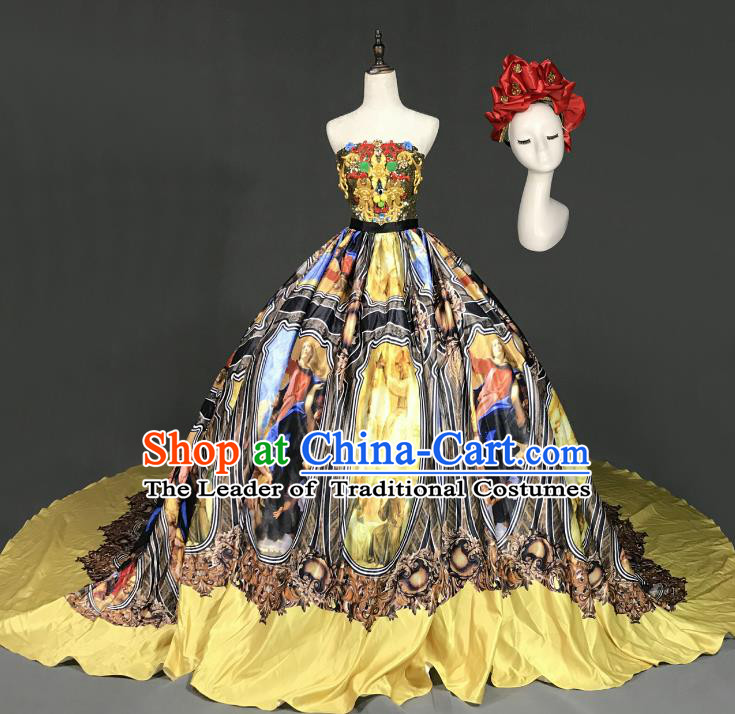 Top Grade Models Show Costume Stage Performance European Court Printing Black Full Dress for Women