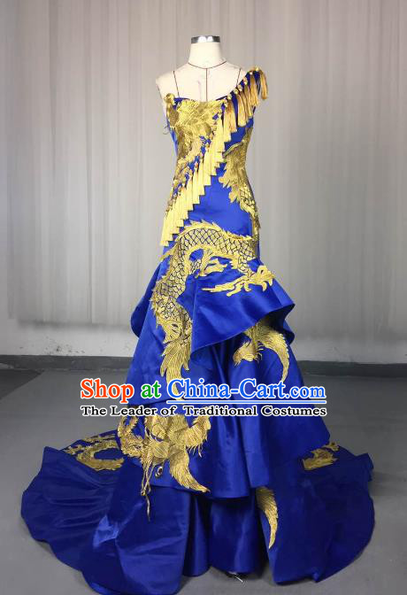 Top Grade Models Show Costume Stage Performance Catwalks Embroidered Dragon Phoenix Full Dress for Women