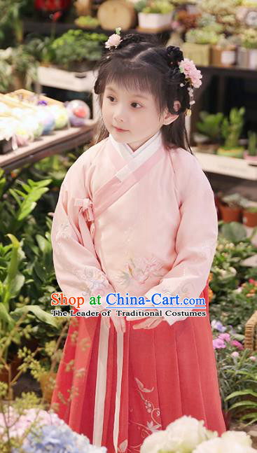 Chinese Ancient Ming Dynasty Nobility Lady Costume Children Embroidered Hanfu Dress for Kids