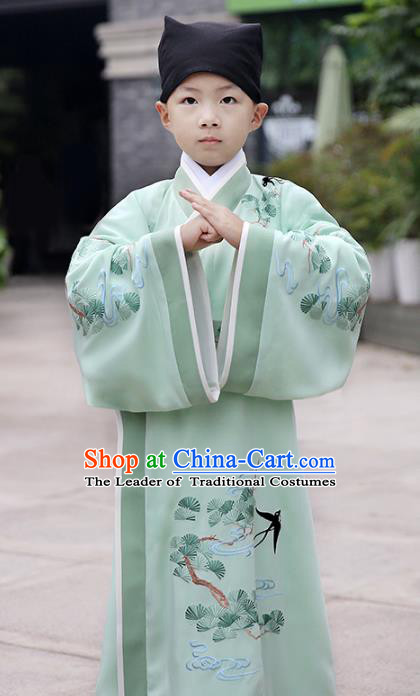 Chinese Ancient Han Dynasty Scholar Costumes Children Embroidered Green Hanfu Clothing for Kids