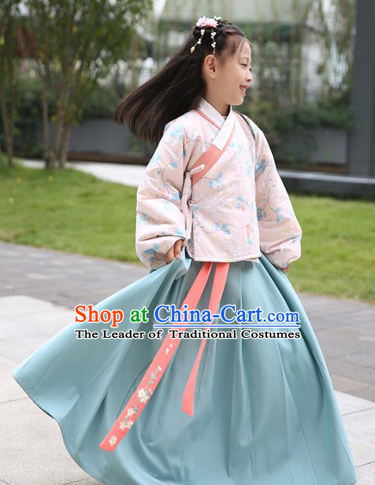 Chinese Ancient Ming Dynasty Girls Costumes Children Embroidered Hanfu Clothing for Kids