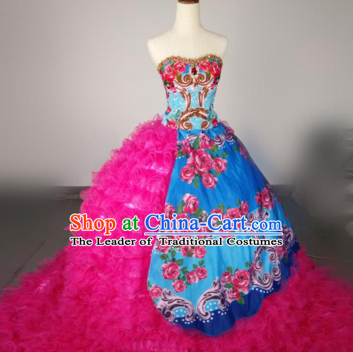 Top Grade Models Show Costume Stage Performance Catwalks European Court Rosy Full Dress for Women