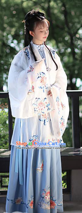 Ancient Chinese Ming Dynasty Nobility Lady Costume Embroidered White Cloak for Women