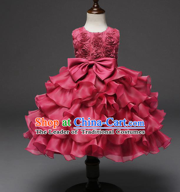 Top Grade Children Catwalks Costume Princess Stage Performance Bowknot Wine Red Bubble Dress for Kids