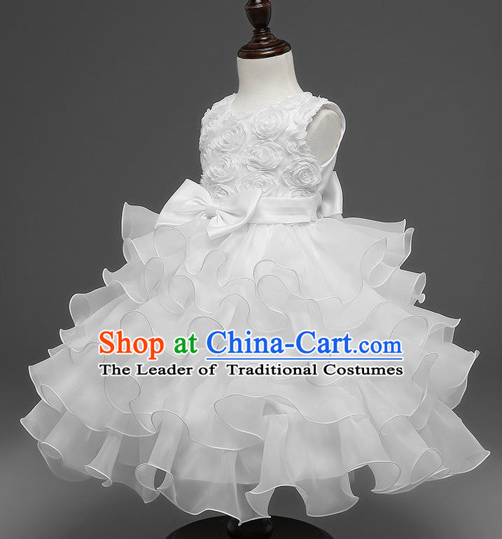 Top Grade Children Catwalks Costume Princess Stage Performance Bowknot White Bubble Dress for Kids