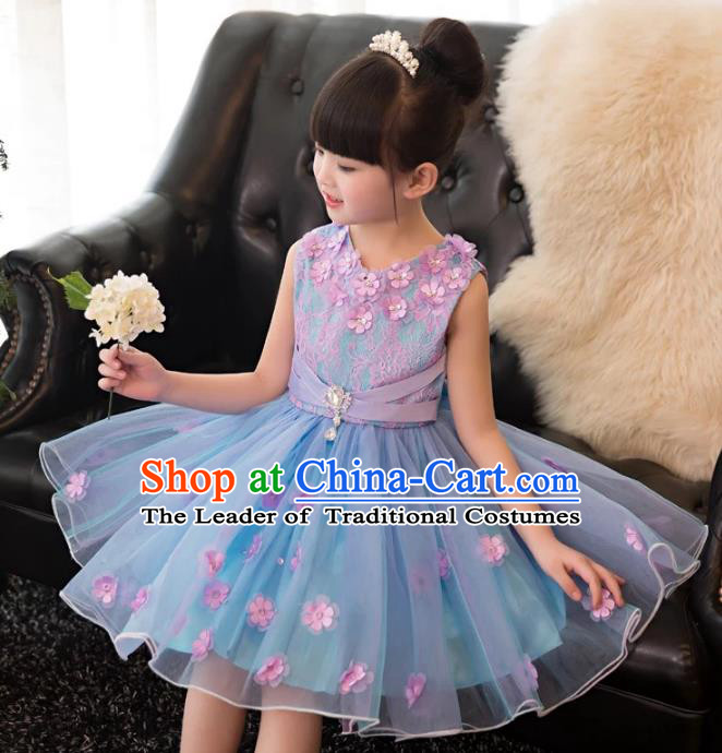 Top Grade Children Catwalks Costume Modern Dance Stage Performance Flower Fairy Blue Dress for Kids