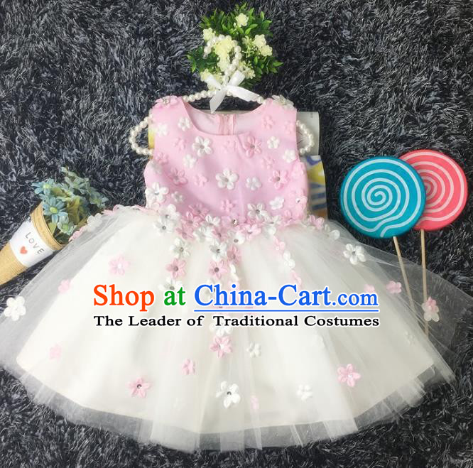 Top Grade Children Catwalks Costume Modern Dance Stage Performance Flower Fairy Pink Dress for Kids
