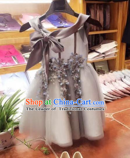 Top Grade Children Catwalks Costume Modern Dance Stage Performance Flower Fairy Grey Dress for Kids