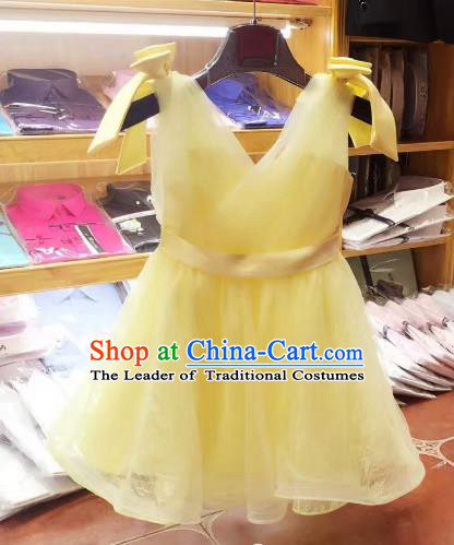 Top Grade Children Catwalks Costume Modern Dance Stage Performance Princess Yellow Dress for Kids