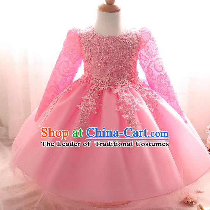 Top Grade Children Catwalks Costume Modern Dance Stage Performance Compere Pink Lace Dress for Kids