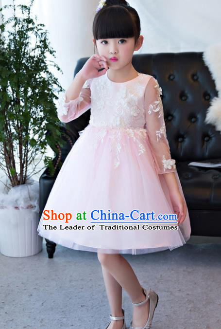 Children Catwalks Flower Fairy Costume Modern Dance Stage Performance Compere Pink Bubble Full Dress for Kids