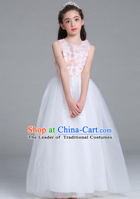Children Models Show Compere Costume Girls Princess White Veil Petal Dress Stage Performance Clothing for Kids