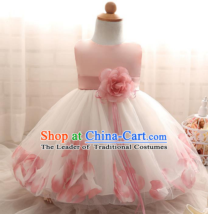 Children Models Show Costume Compere Pink Rose Full Dress Stage Performance Clothing for Kids