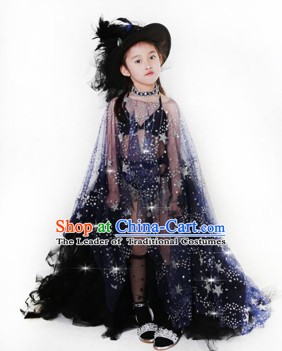 Children Models Show Costume Catwalks Stage Performance Black Dress and Hat for Kids