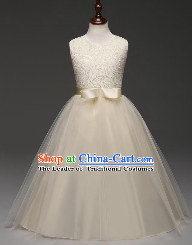 Children Models Show Costume Compere Champagne Lace Full Dress Stage Performance Clothing for Kids