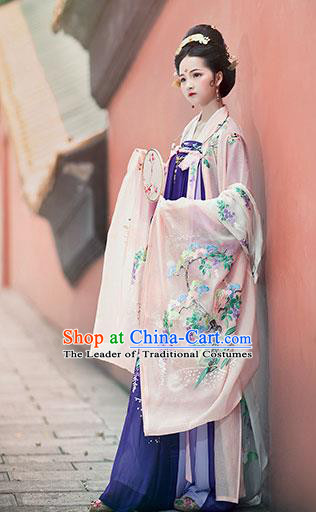 Traditional Chinese Tang Dynasty Imperial Consort Embroidered Costume Ancient Palace Lady Hanfu Dress for Women