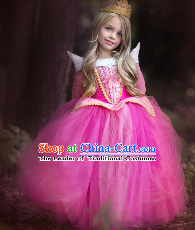 Children Fairytales Princess Costume Compere Modern Dance Stage Performance Catwalks Rosy Dress for Kids