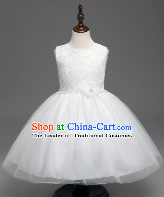 Children Catwalks Flower Fairy Costume Modern Dance Stage Performance Compere White Lace Full Dress for Kids