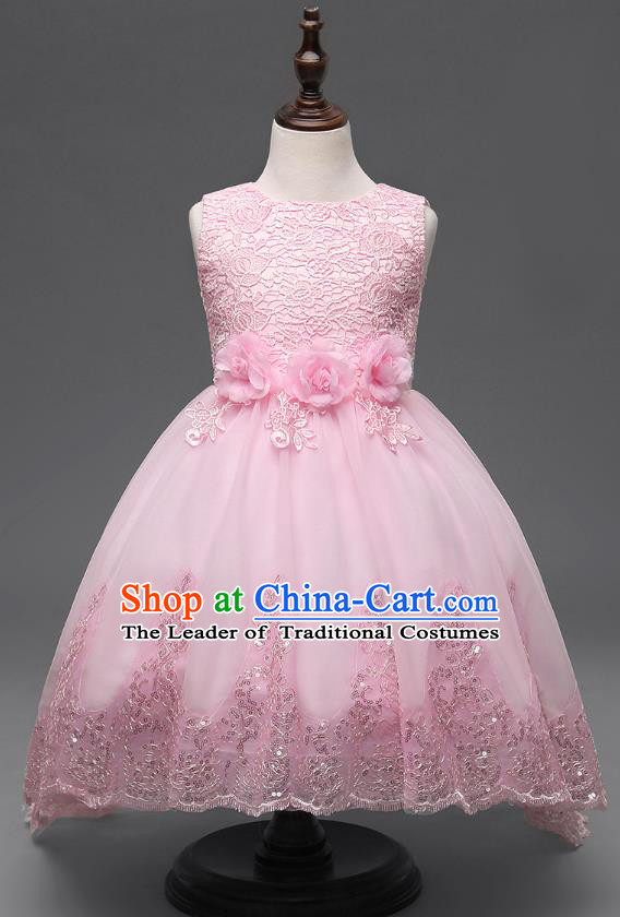 Children Fairy Princess Pink Lace Dress Stage Performance Catwalks Compere Costume for Kids