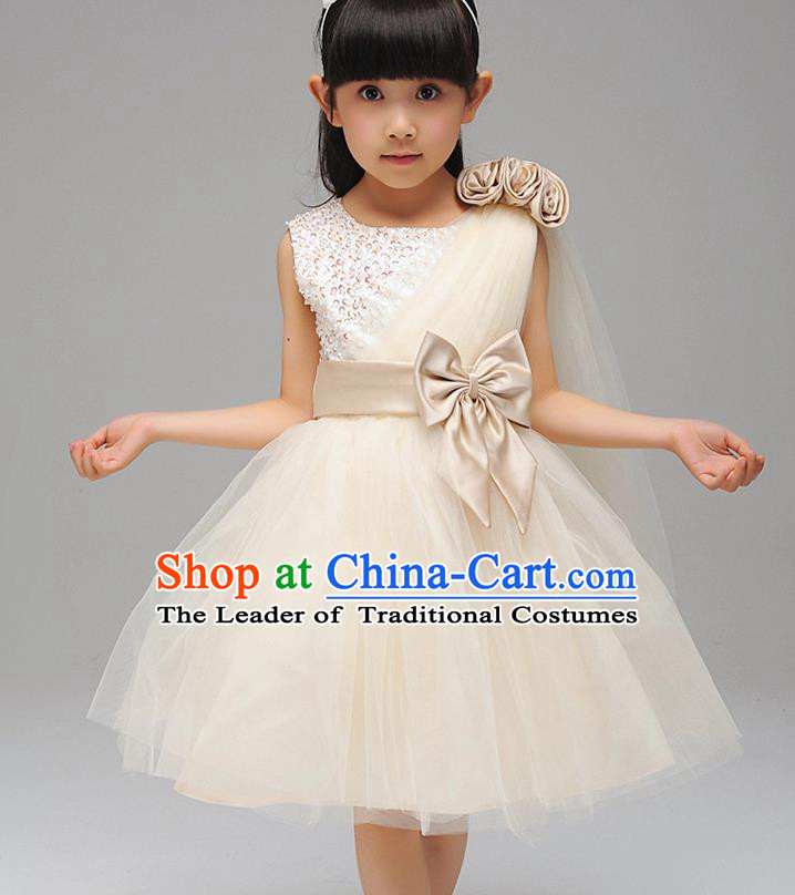 Children Fairy Princess Bowknot Dress Stage Performance Catwalks Compere Costume for Kids