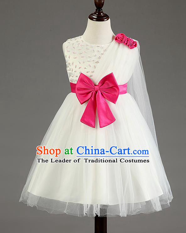 Children Fairy Princess Bowknot White Dress Stage Performance Catwalks Compere Costume for Kids