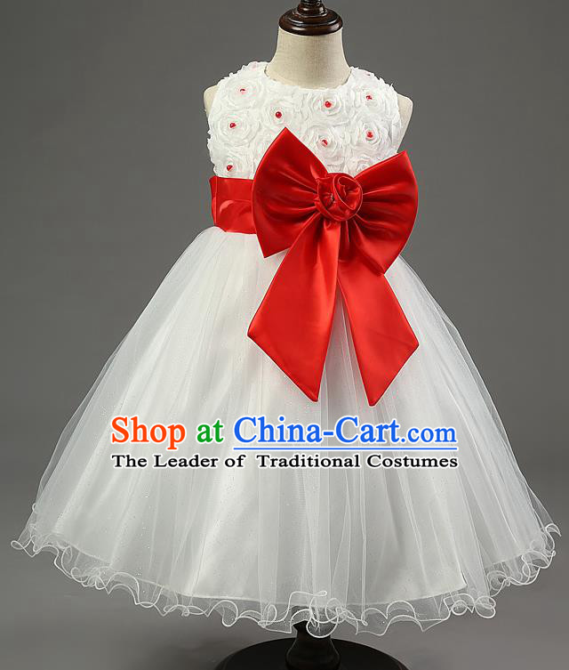 Children Fairy Princess Red Bowknot Dress Stage Performance Catwalks Compere Costume for Kids