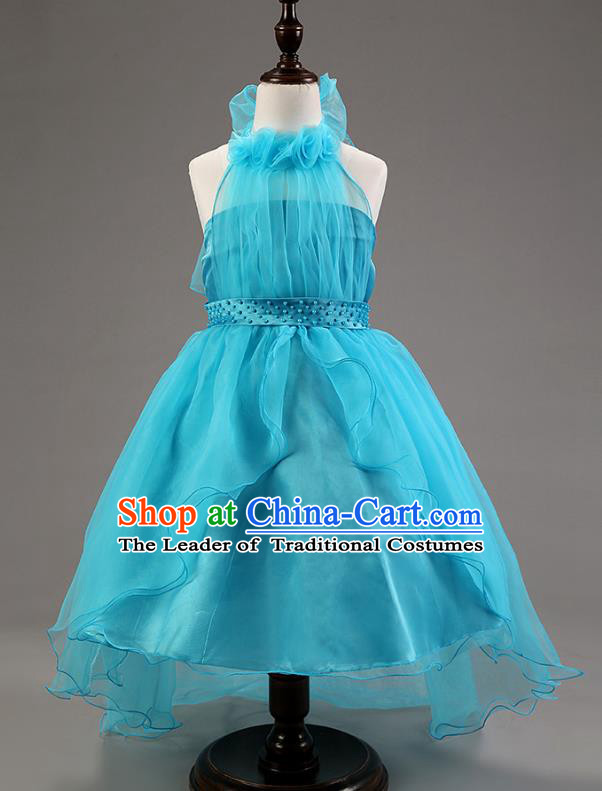 Children Modern Dance Princess Blue Mullet Dress Stage Performance Catwalks Compere Costume for Kids