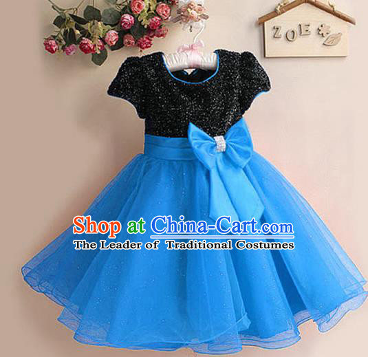 Children Modern Dance Blue Bubble Dress Stage Performance Compere Catwalks Costume for Kids