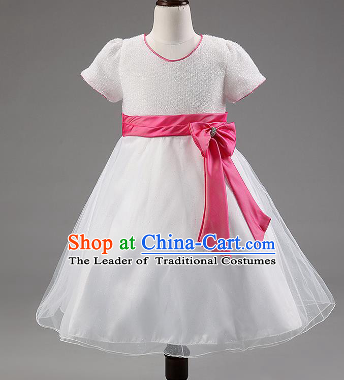 Children Modern Dance White Bubble Dress Stage Performance Compere Catwalks Costume for Kids