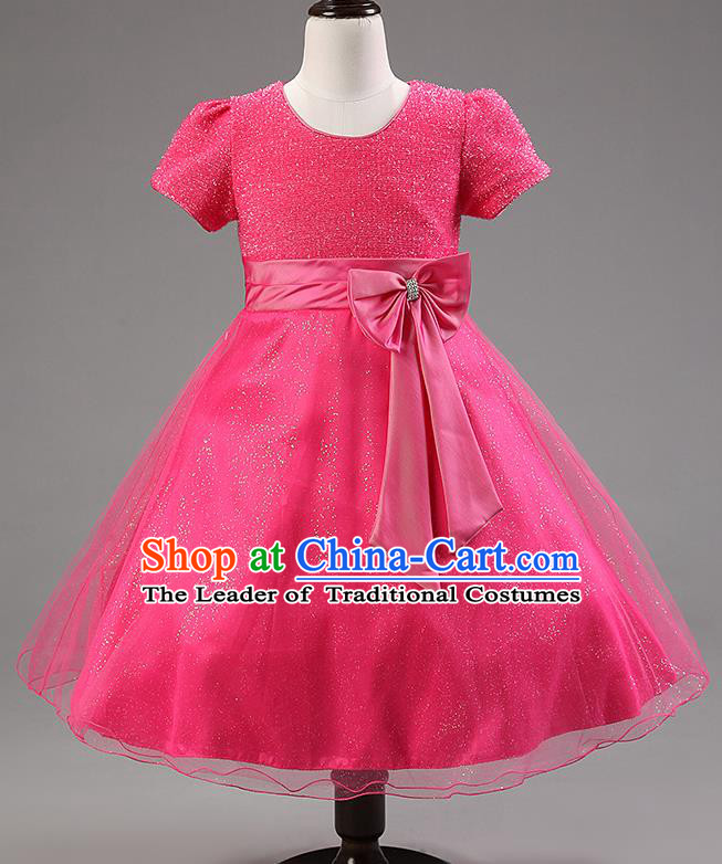 Children Modern Dance Rosy Bowknot Bubble Dress Stage Performance Compere Catwalks Costume for Kids