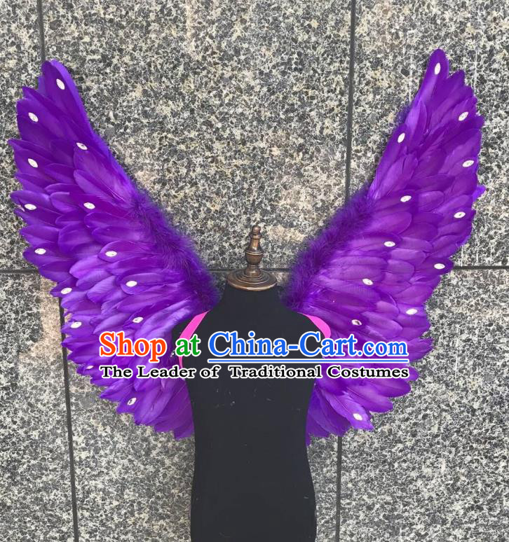 Top Grade Samba Dance Props Brazilian Carnival Catwalks Purple Feather Wings for Kids