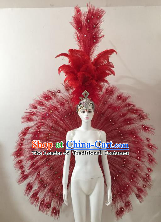 Brazilian Catwalks Samba Dance Props Rio Carnival Red Feather Angel Wings and Headwear for Women