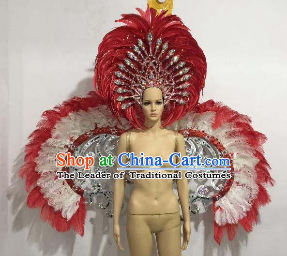 Brazilian Catwalks Samba Dance Props Rio Carnival Red and White Feather Angel Wings and Headwear for Women