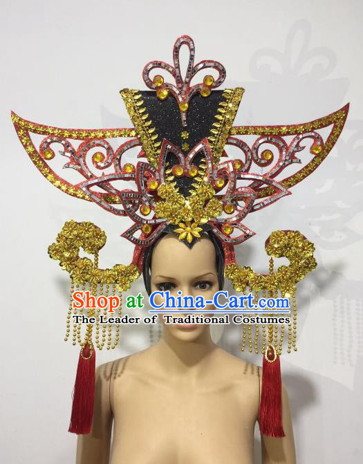 Brazilian Samba Dance Chinese Palace Queen Hair Accessories Rio Carnival Roman Deluxe Headwear for Women